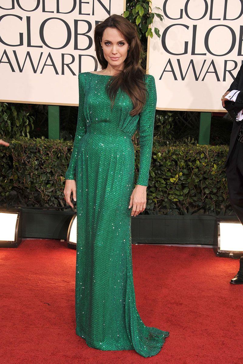 7bd65bbe04 Angelina Jolie Long Sleeve Bateau Neck Sequin Green Evening Dress ...