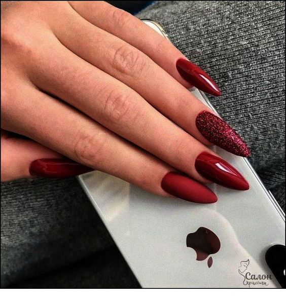 Long Red Stiletto Nails With Some Glitter With Images Red Nail