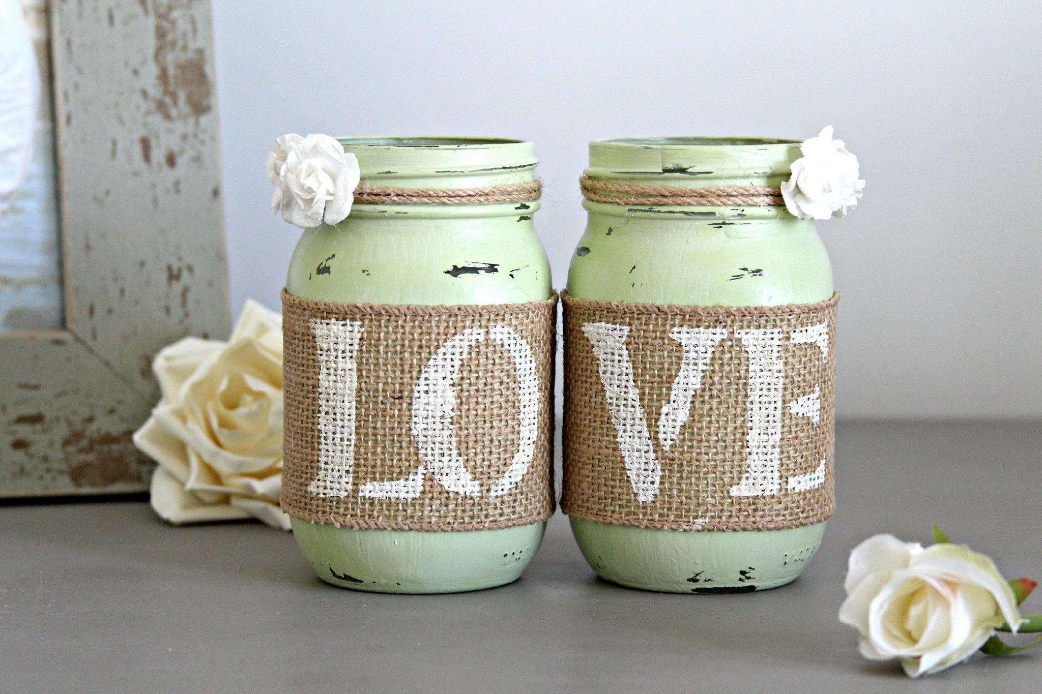 Decorative Jars Rustic Wedding Celery Green Table Decor  Wedding Tables Weddings