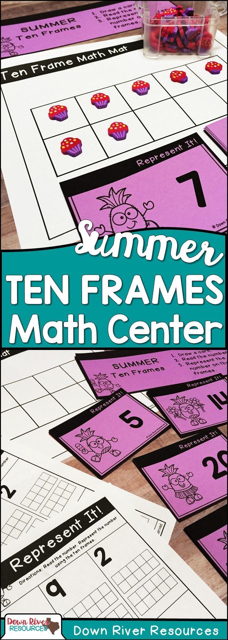 Ten Frames for Kindergarten Summer Math Center | Number Practice 1 ...