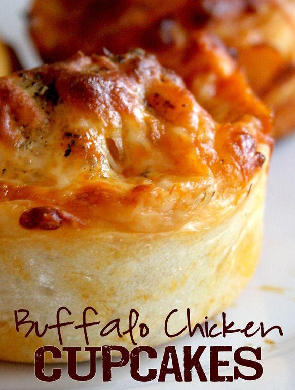 Buffalo Chicken Cupcakes - look so delish! via Doughmesstic