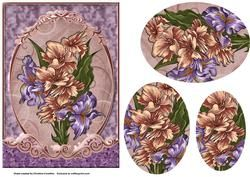 Iris Bouquet Fancy Scrolled Oval Pyramid