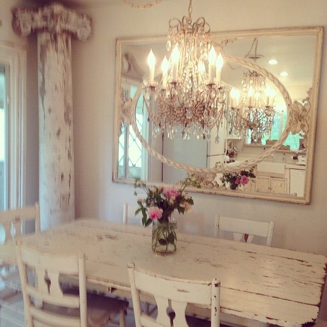 Rustic And Romantic Dining Space Great Architectural Elements Alongside Elegant Chandelier And Mi Shabby Chic Dining Room Chic Dining Room Shabby Chic Dining