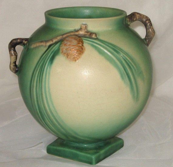 Vintage roseville pottery with a pinecone- oh joy. janesvintagetoo on etsy.