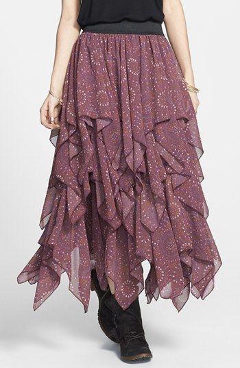 4a93f822df Free People Print Layered Handkerchief Hem Skirt | Nordstrom ...