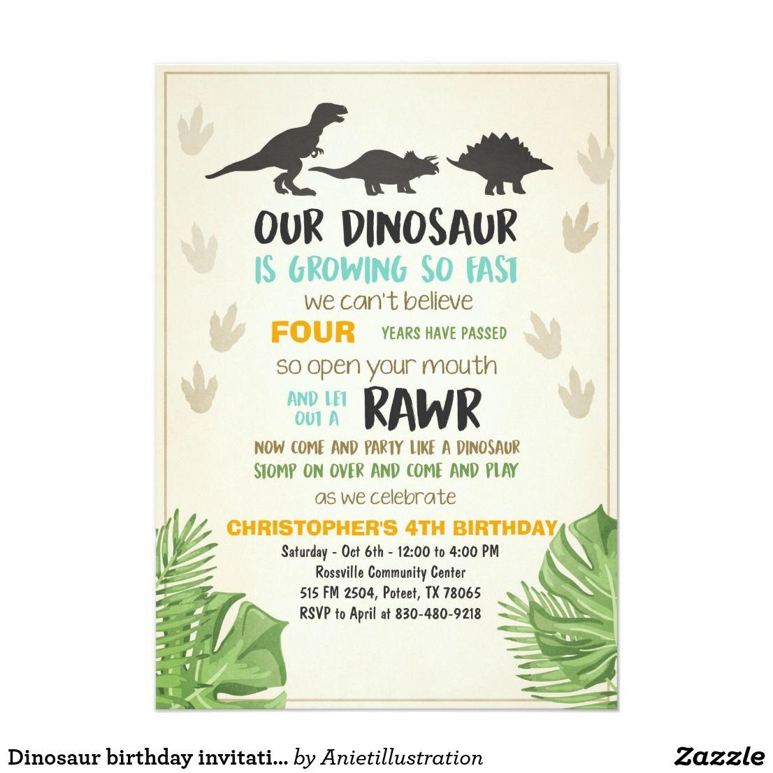 Dinosaur birthday invitation Dinosaur Party Invite | Dinosaur ...