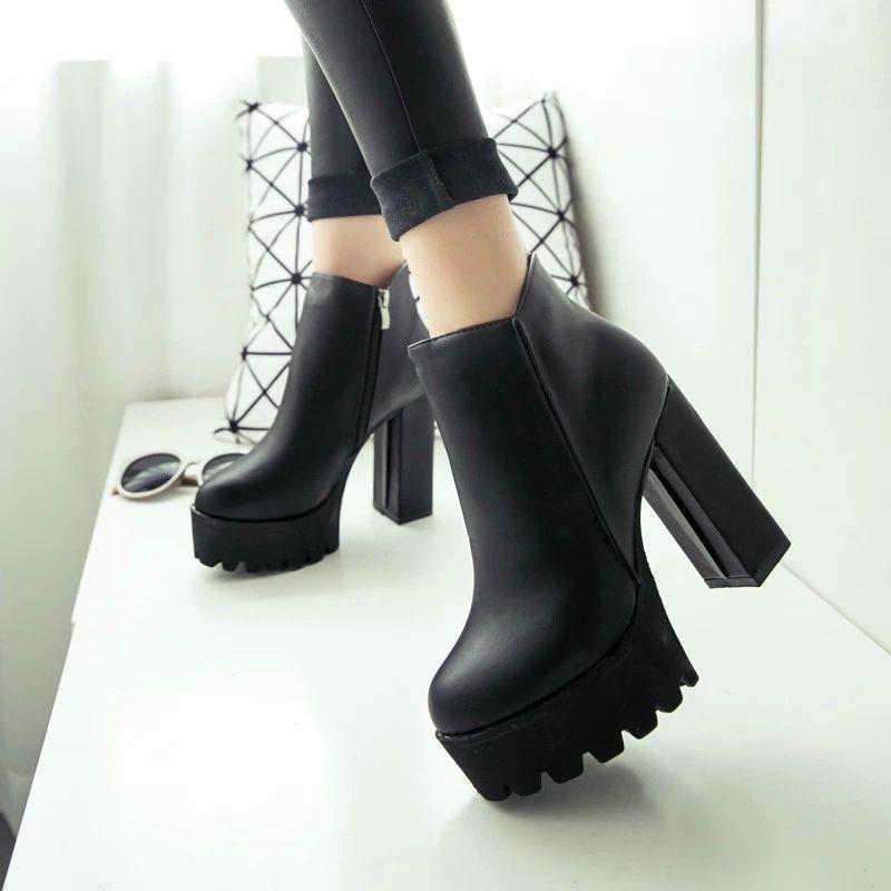 36ceed590 Купить товар Женская обувь 2015 новых зимние ботинки трубка грубые каблуки  головой из стороны молнии водонепроницаемые