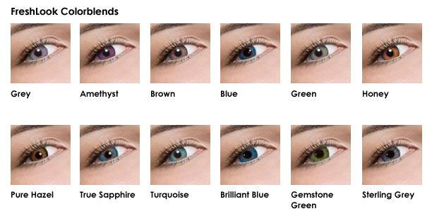 Freshlook Colorblends Grey Amethyst Brown Blue Green Honey Pure Hazel True Sapphire Turquoise Eye Color Chart Colored Contacts Black Contact Lenses