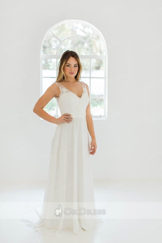 Aline vneck long lace top chiffin wedding dresses cheap party