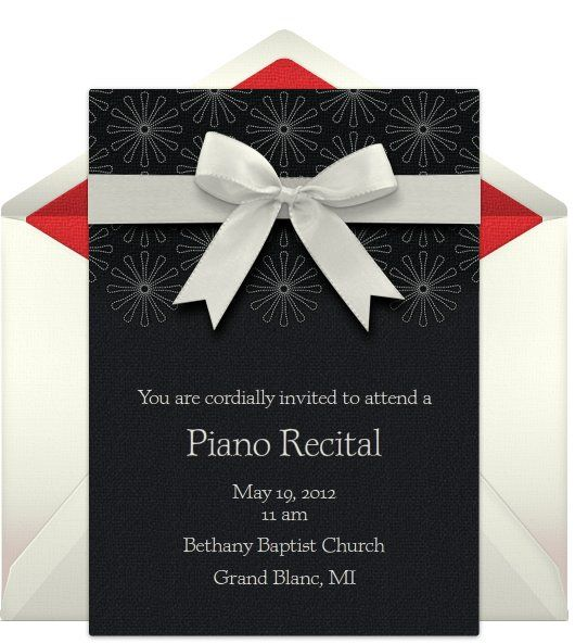 free e-invitation for upcoming piano recital Maybe for an advanced students recital someday, a big event.
