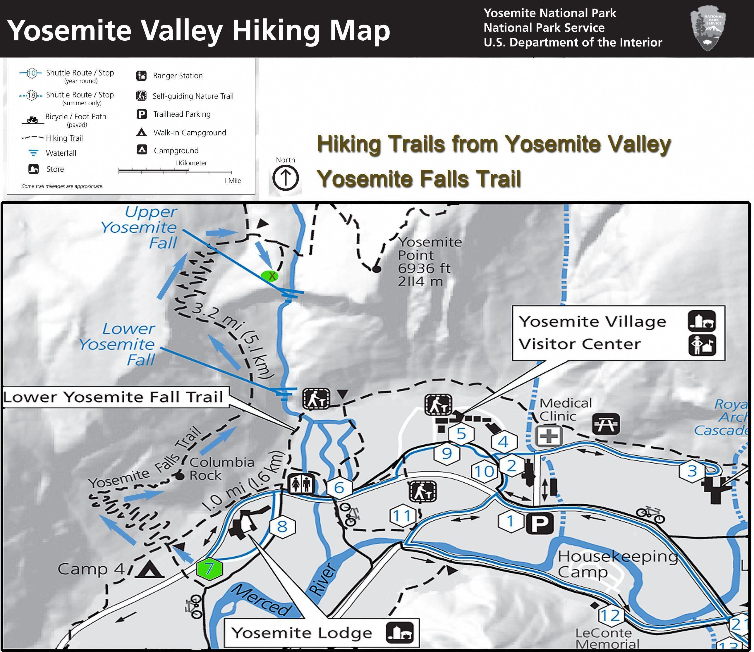 Yosemite Hiking Map Yosemite Falls Trail Yosemite Falls Is The Highest Measured Waterfall In North America L Hiking Map California Travel Yosemite Camping