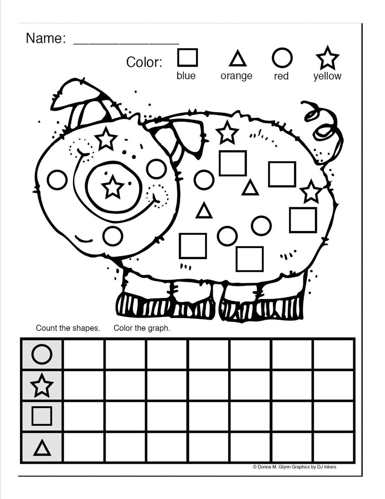 Coloring shapes worksheet - Color And Count The Shapes Google Search
