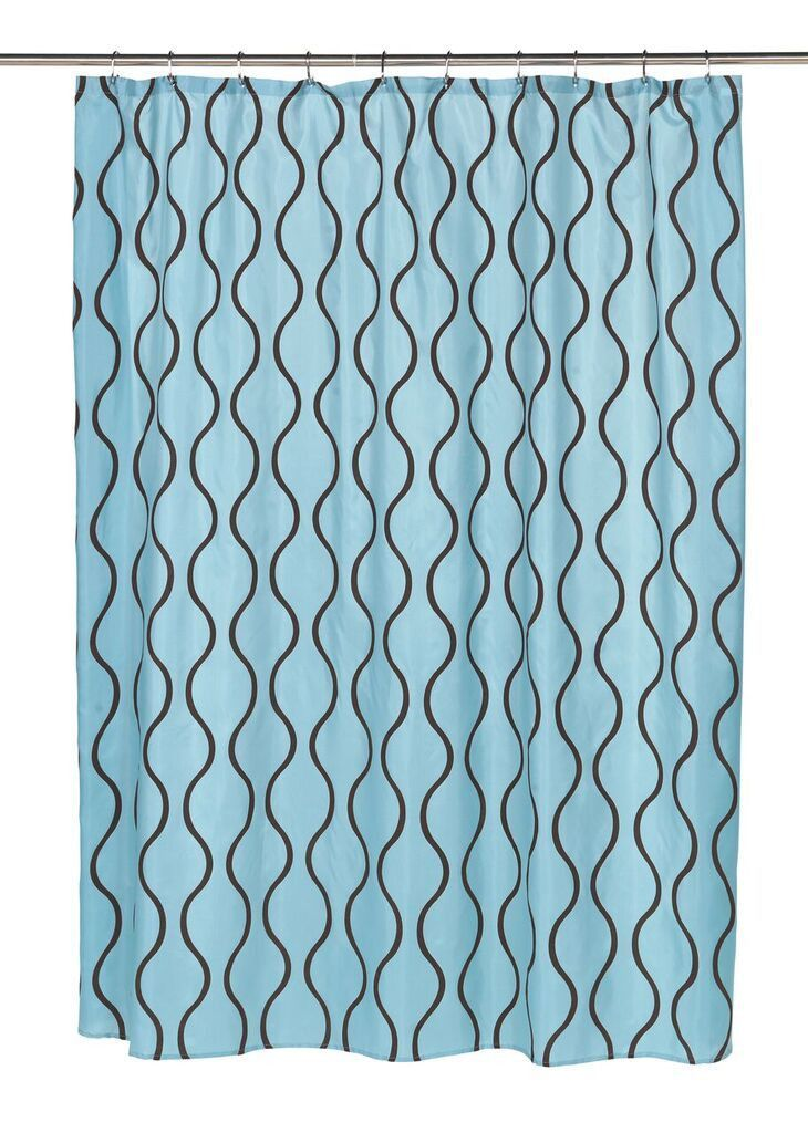 Wavy Vertical Lines Fabric Shower Curtain With Flocking Blue