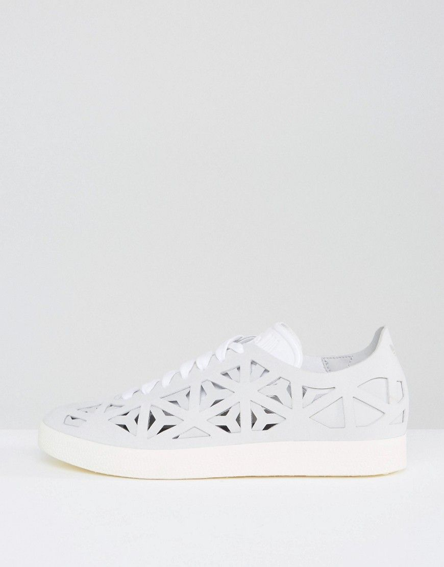 Buy it now. adidas Originals White Gazelle Cut Out Trainers - White.  Trainers by