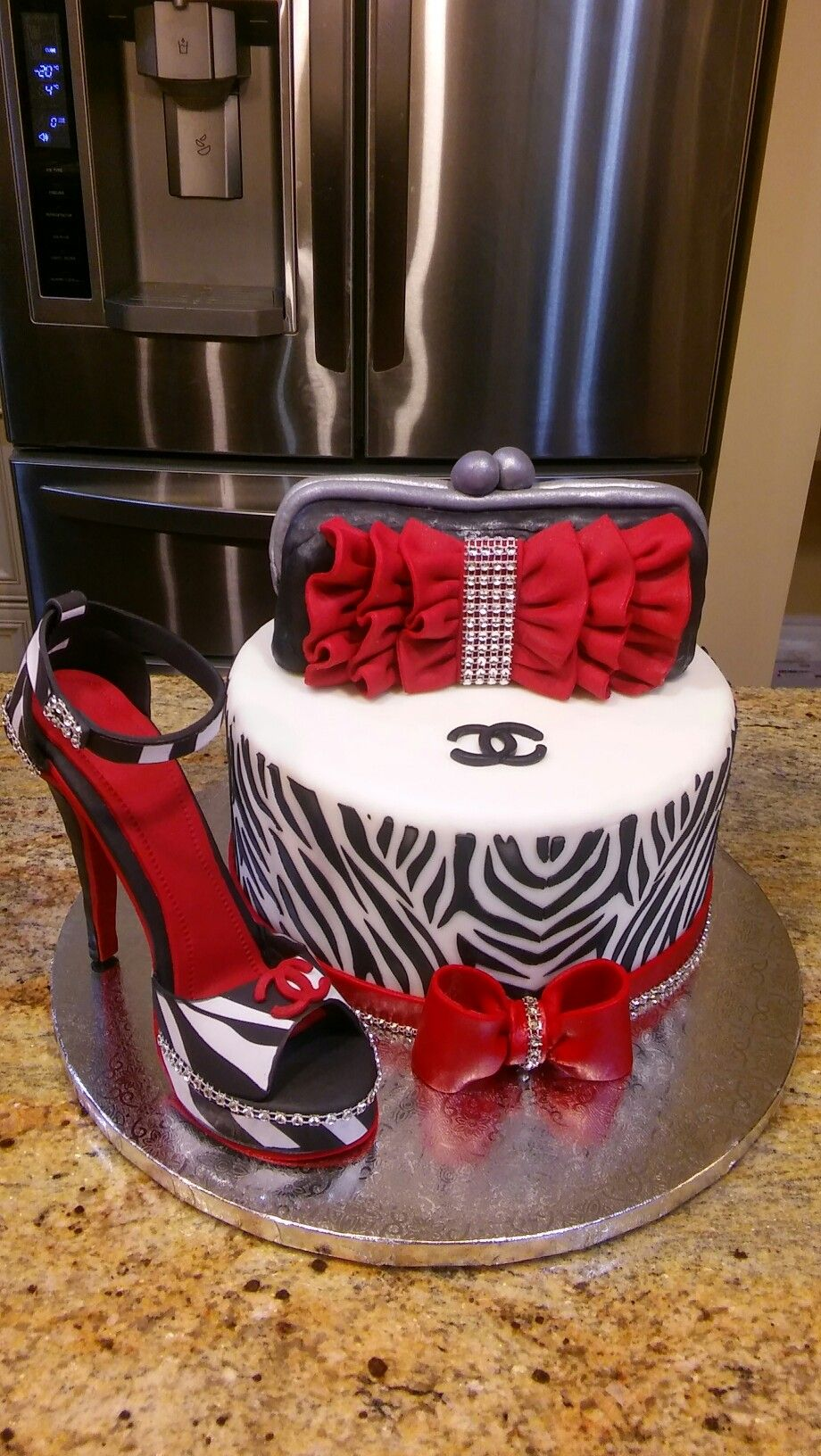 Sexy Hot Pink And Black High Heel Shoe Cake For That Fashionable