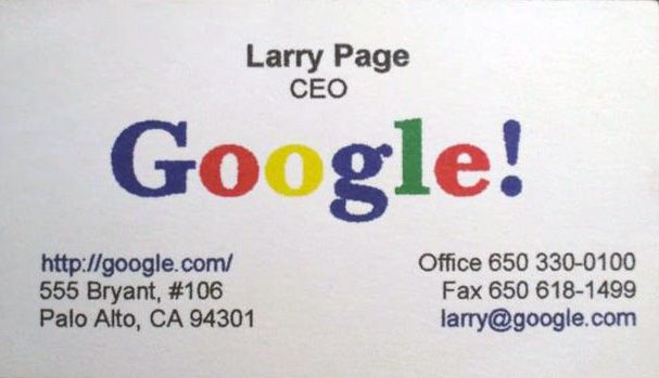Google S Larry Page Original Business Card Google Business Card