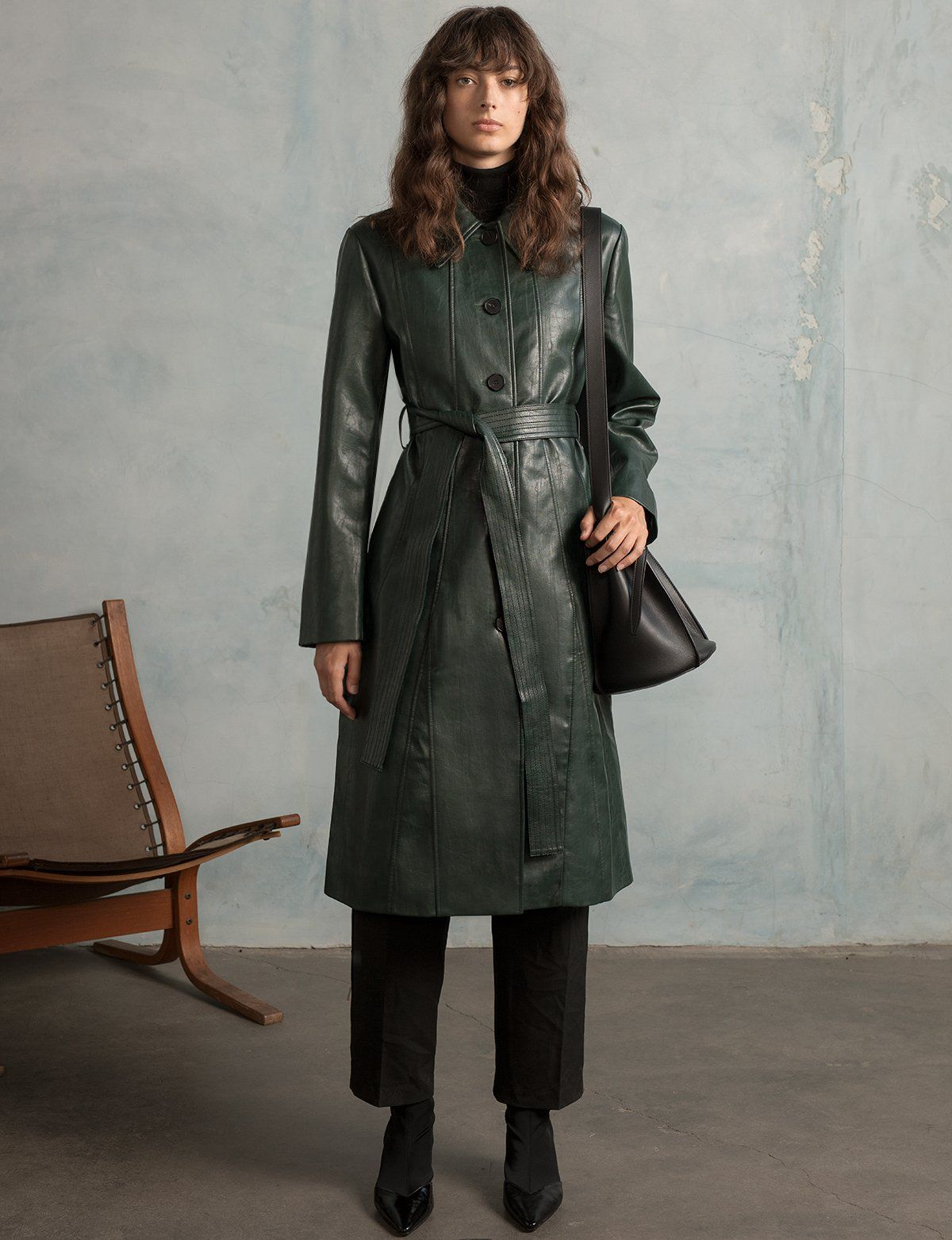 Hunter Green Leather Trench Leather trench coat woman