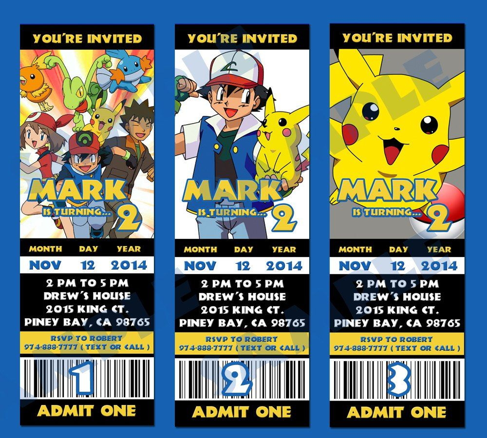 Pokemon Online Birthday Invitations