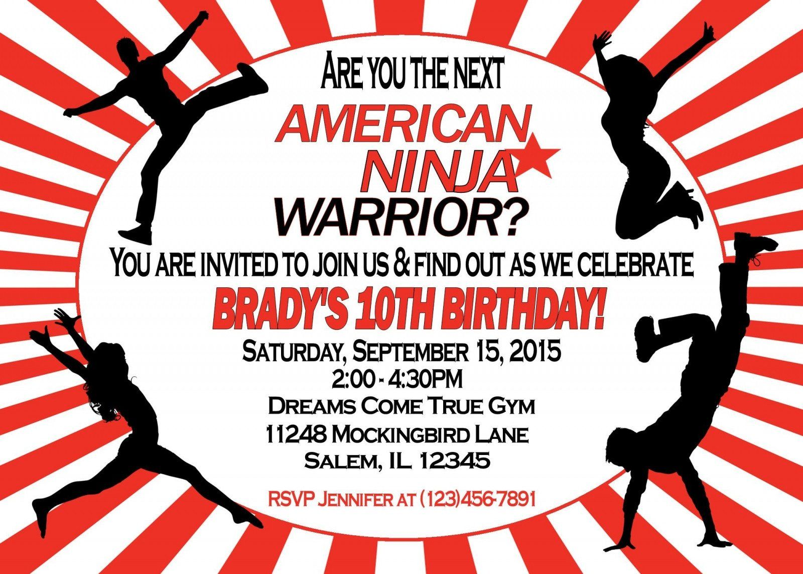 American Ninja Warrior Birthday Invitations American Ninja Warr