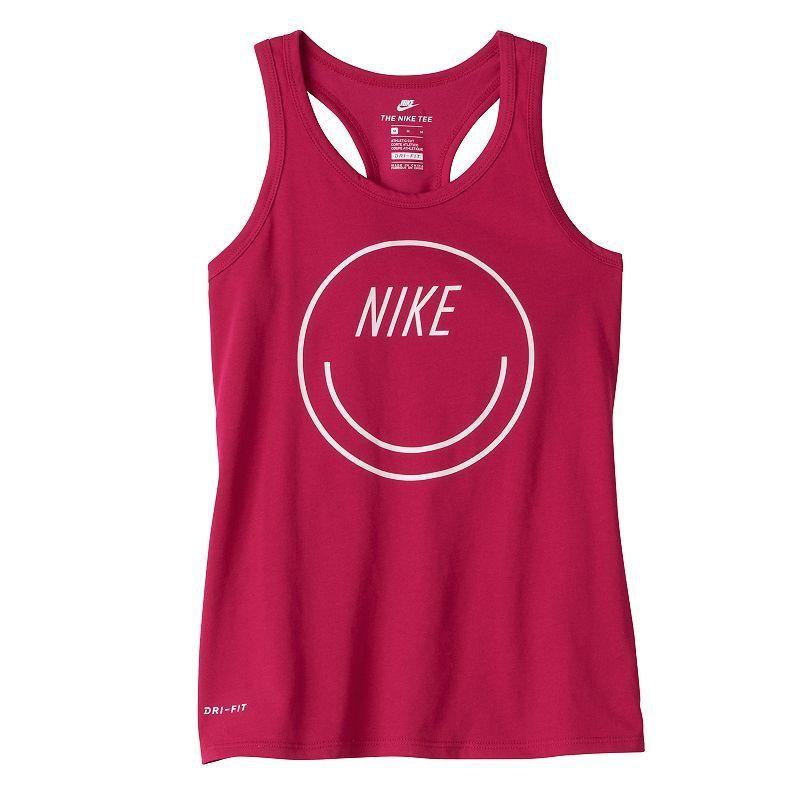 Girls 7-16 Nike Smiley Face Racerback Tank Top, Girl's, Size: Medium