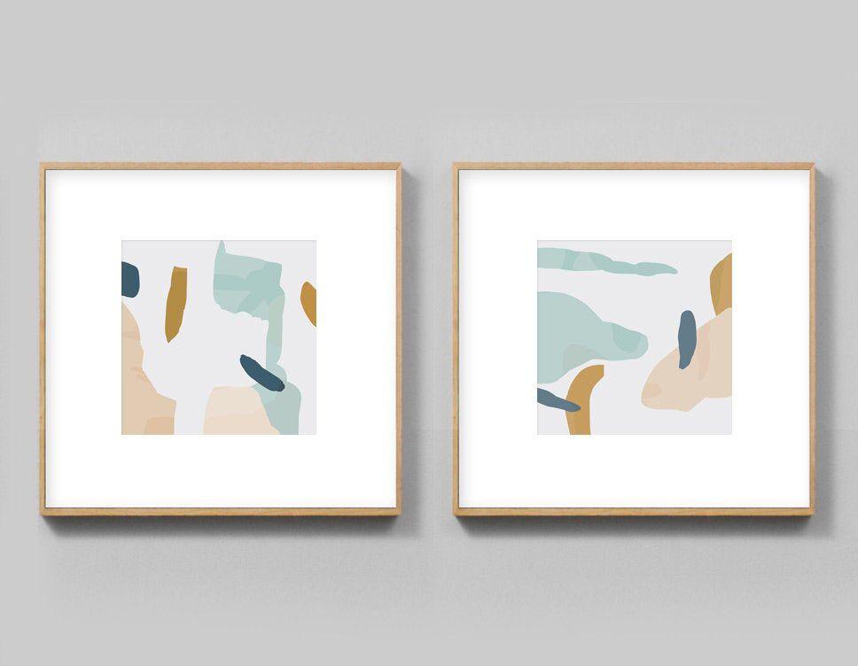 Set Of 2 Prints Minimal Abstract Art Prints 12x12 Wall Art Etsy Etsy Art Prints Retro Wall Art Abstract Art Prints