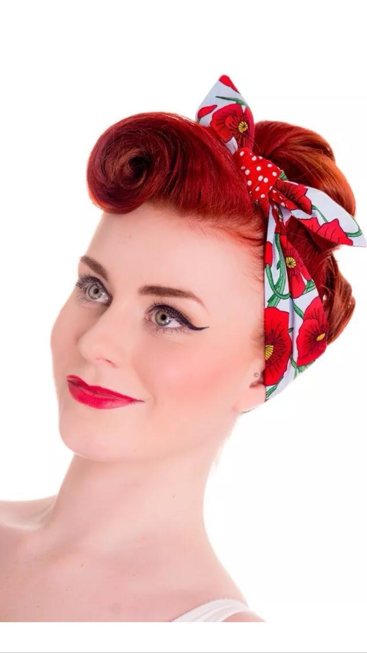 Vintage Style Hair Tie Band 1940s 50s Rockabilly Landgirl Look Red Poppy Rockabilly Hair Cherry Hair Pop Hair