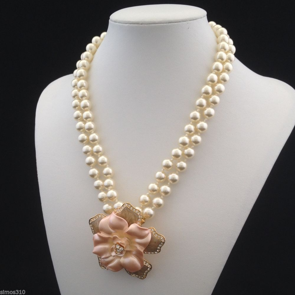 Nolan miller signed flowering simulated pearl necklace pendant pin