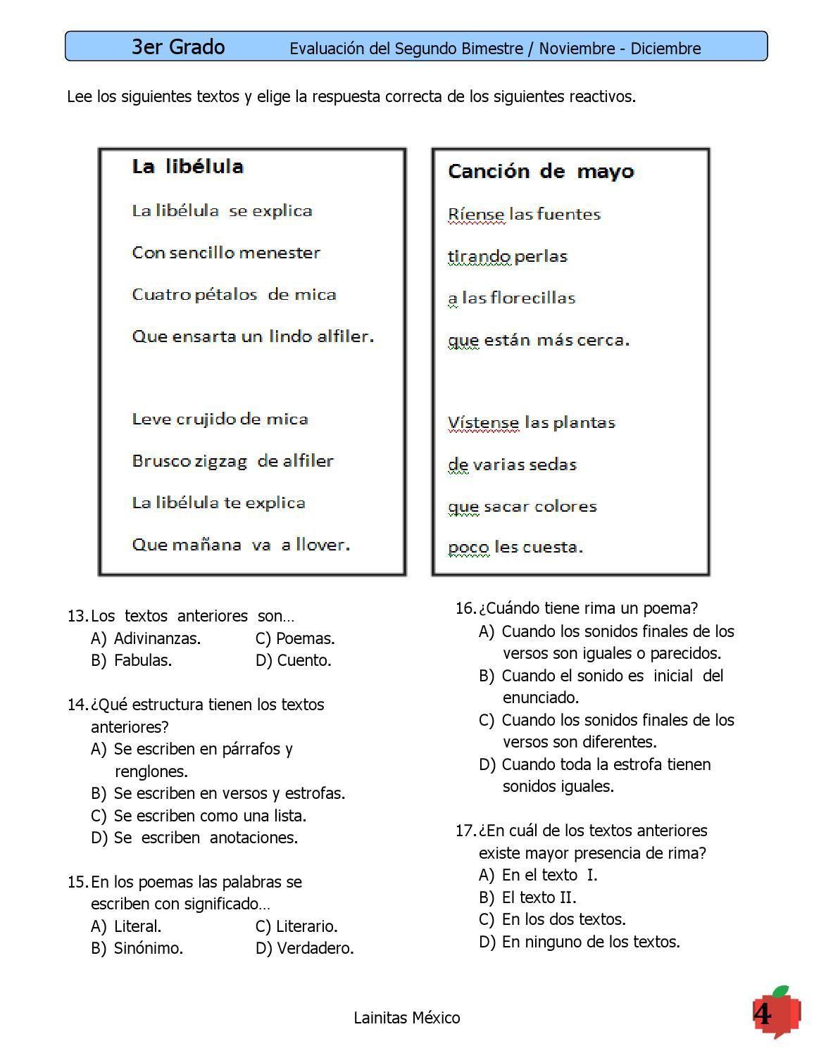 Examen 3er Grado Bimestre 2 Grado Tercer Grado Y Textos