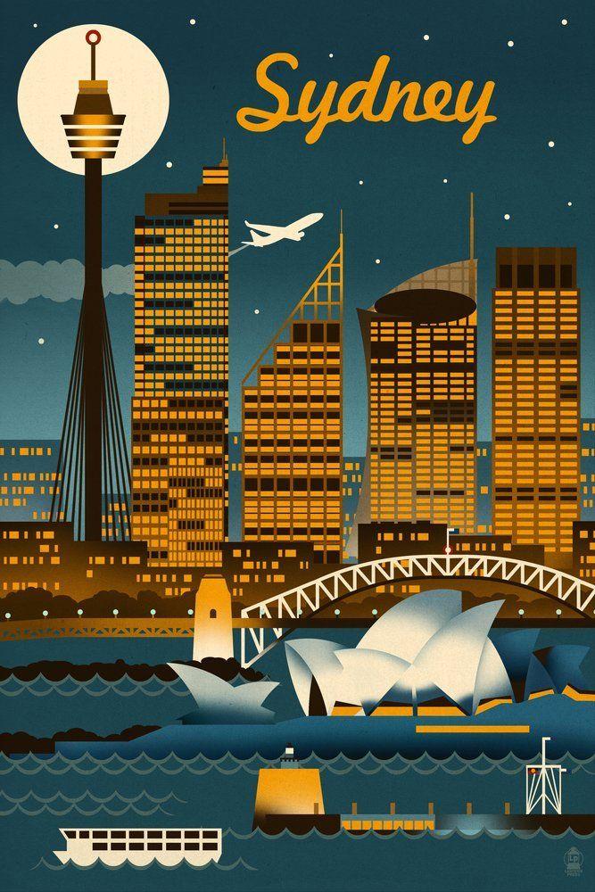 Sydney, Australia - Retro Skyline (24x36 Giclee Gallery Print, Wall ...