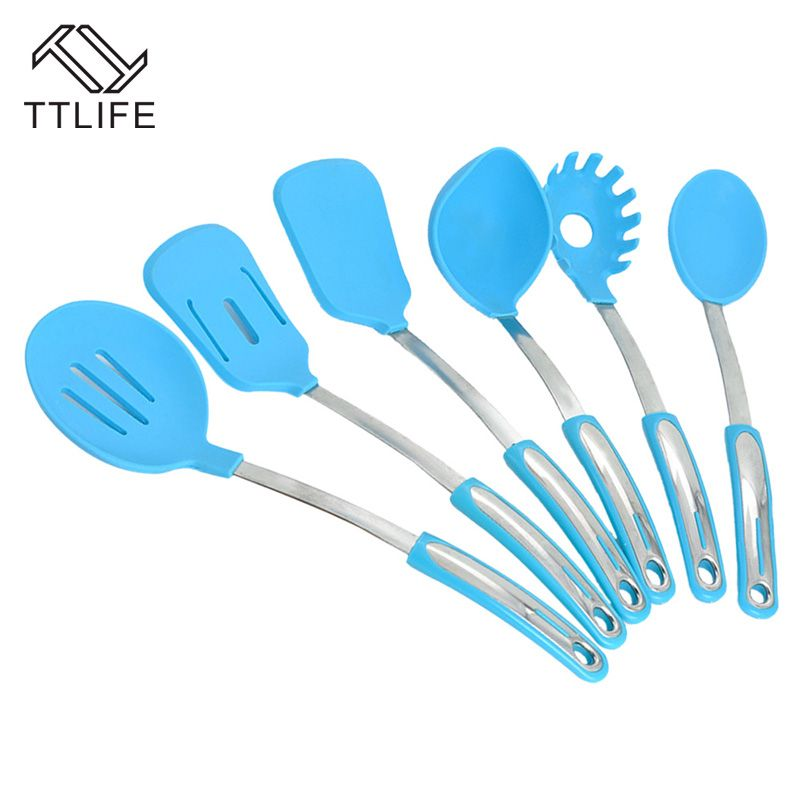 Ttlife High Quality 7pc Silicone Cooking Utensil Set Kitchen Utensils Spoon Shovel With Stainless Steel Holder