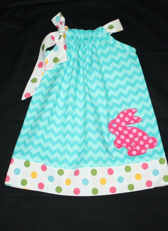 Baby Girls Easter Dress Pillowcase Dress Aqua Blue Monogrammed Personalized