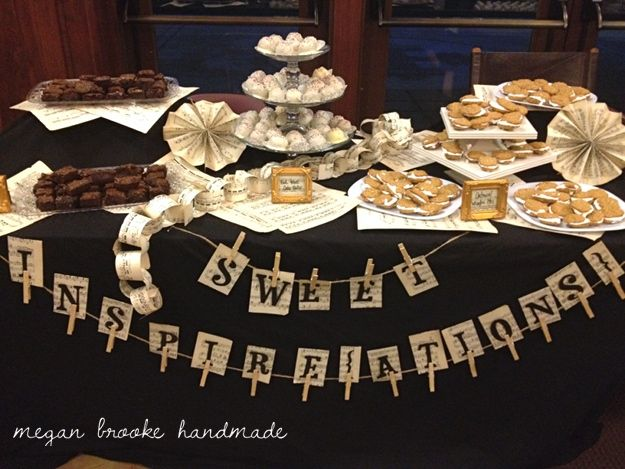3a6419279697 Sheet Music Dessert Table-- recital table idea  Could even use colorful  paper for the sheet music