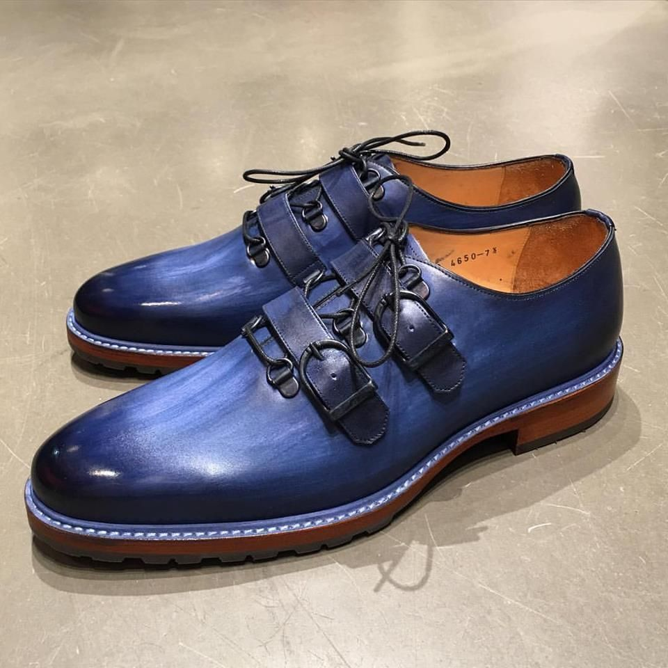 Handmade Blue Classic Buckle Strap Style Leather Shoe, Men