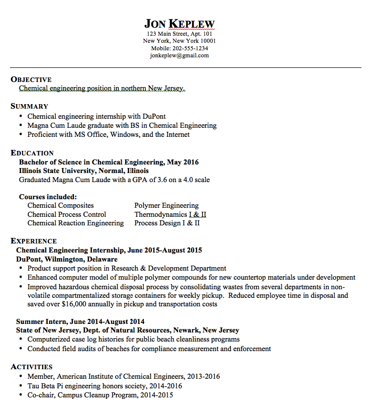 Chemical Engineering Resume Sample Resume Chemical Engineering  Httpexampleresumecv