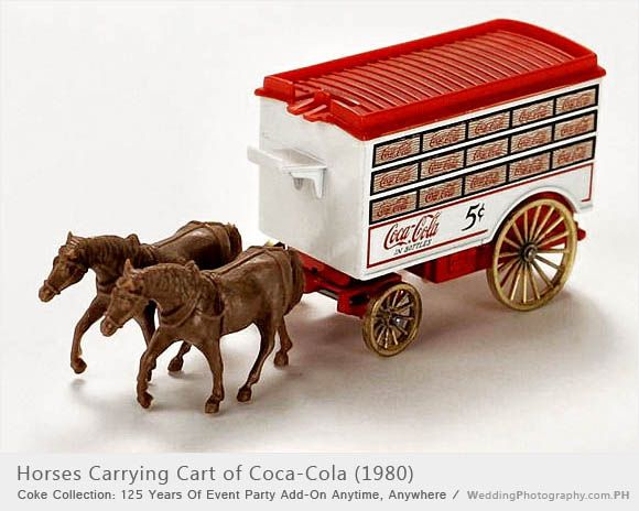 Toy delivery cart pulled by horses, like Coca-Cola would have been delivered to soda fountains across the country in the late 1800s. Drink Coca-Cola in bottles, five cents. Read more: http://weddingphotography.com.ph/6124/coke-collection-125-years-event-party-add-on-anytime-anywhere/#ixzz3w3cvXKmN