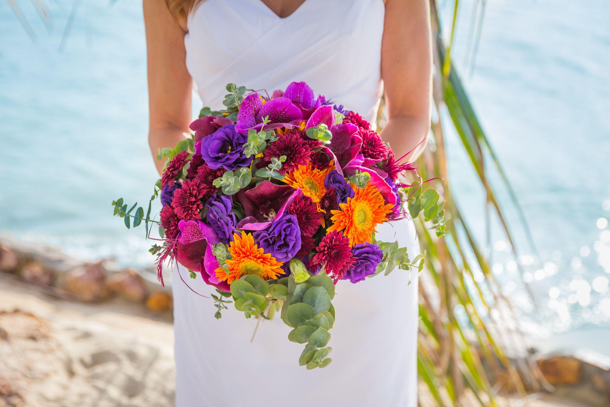 Purple & Orange wedding bouquet