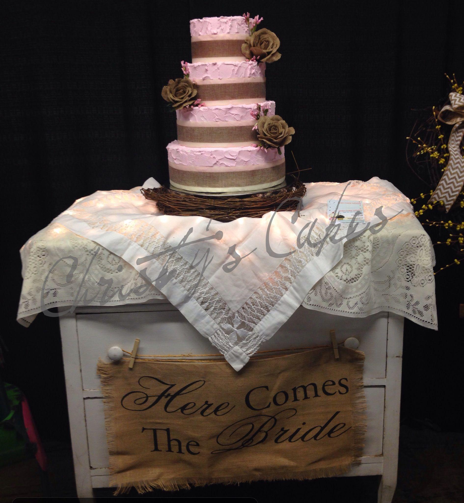 Pink shabby chic wedding cake cakes i create pinterest