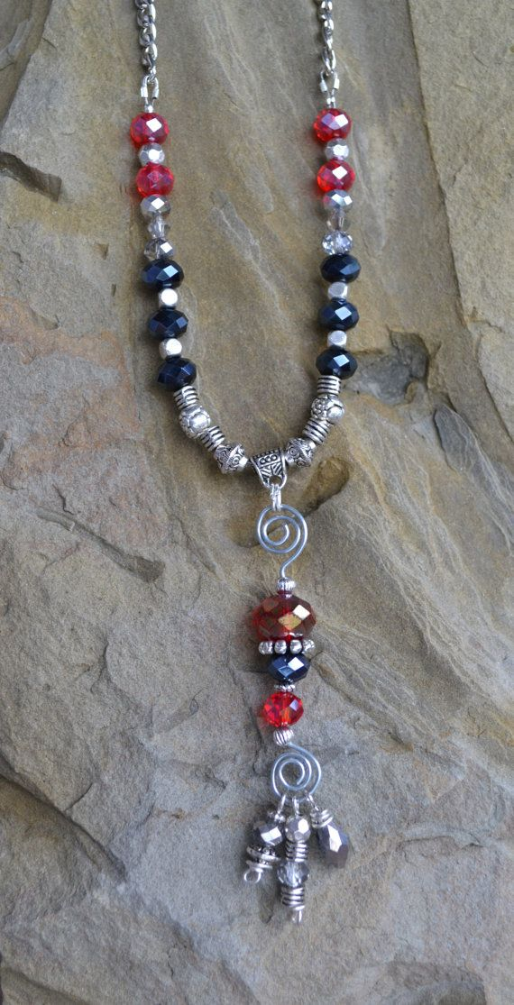 Crystal necklace Red White and Black Crystal Necklace by LKArtChic