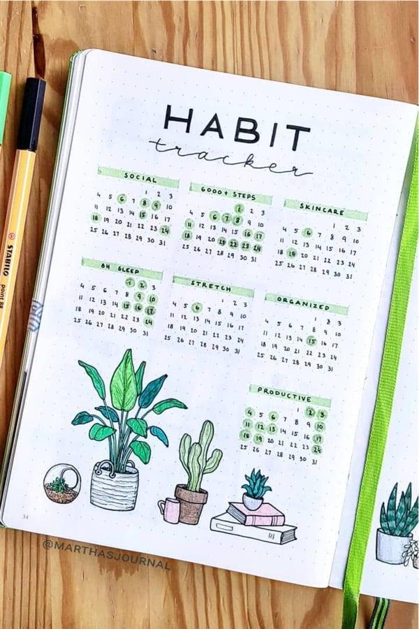25+ Best Cactus & Succulent Themed Bullet Journal Ideas