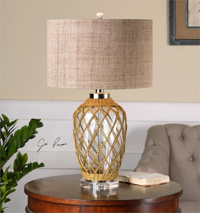 Clear glass base lamp draped in a woven natural rope accented with clear glass base lamp draped in a woven natural rope accented with polished nickel plated details aloadofball Choice Image