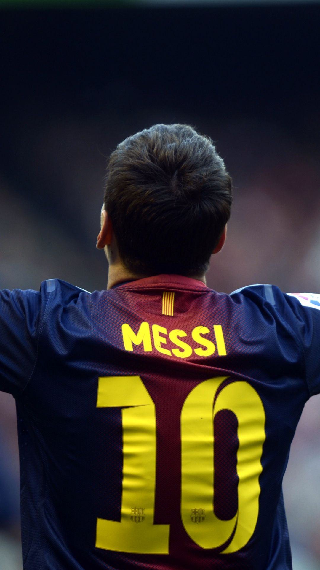 Download Wallpaper 1080x1920 Lionel Messi, Player, Back