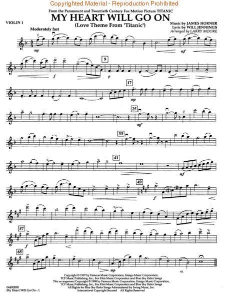 My Heart Will Go On Love Theme From Titanic Sheetmusicplus Com Violin Sheet Music Flute Music Sheet Music Book