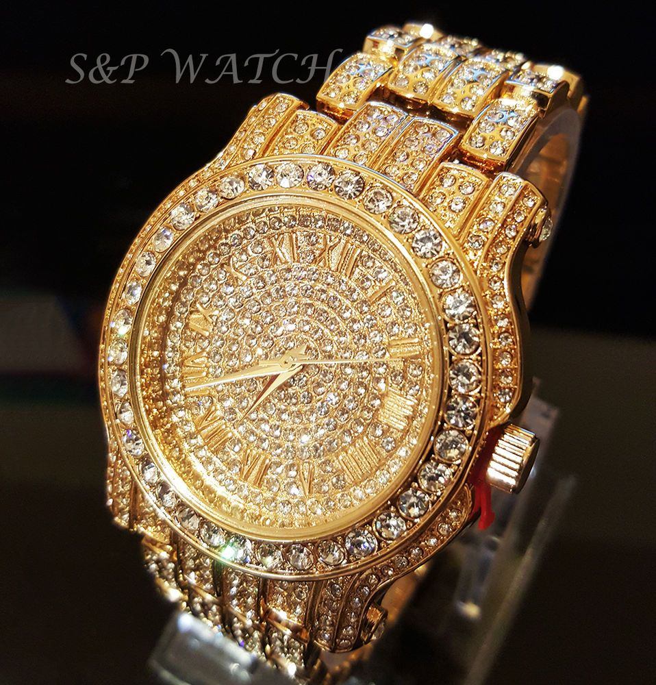 b23f147ec195 Men Hip Hop Iced out Gold Tone Techno Pave Bling Simulated Diamond Rapper  Watch
