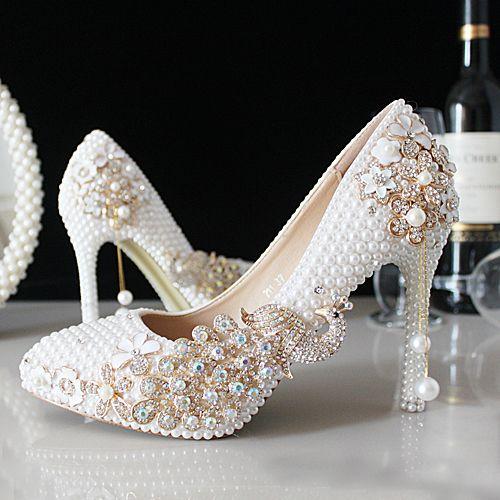 ab73517e2c9 chaussure mariage incrustées perles simili avec strass phénix escarpin  blanc de mariée pas cher talons hauts aiguille
