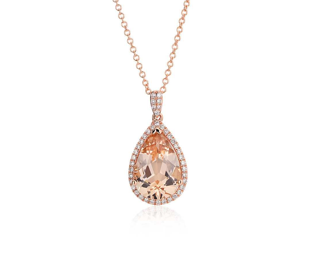 Morganite and rose gold jewelry morganite and diamond halo pendant in 14k rose gold 13x9mm aloadofball Gallery
