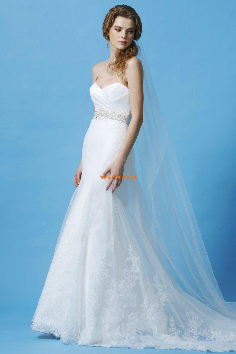Tülle Elegant & Luxuriös Perle detailliert Günstige Brautkleider