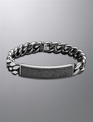 David Yurman Men S Curb Chain Id Bracelet Pave Black Diamonds