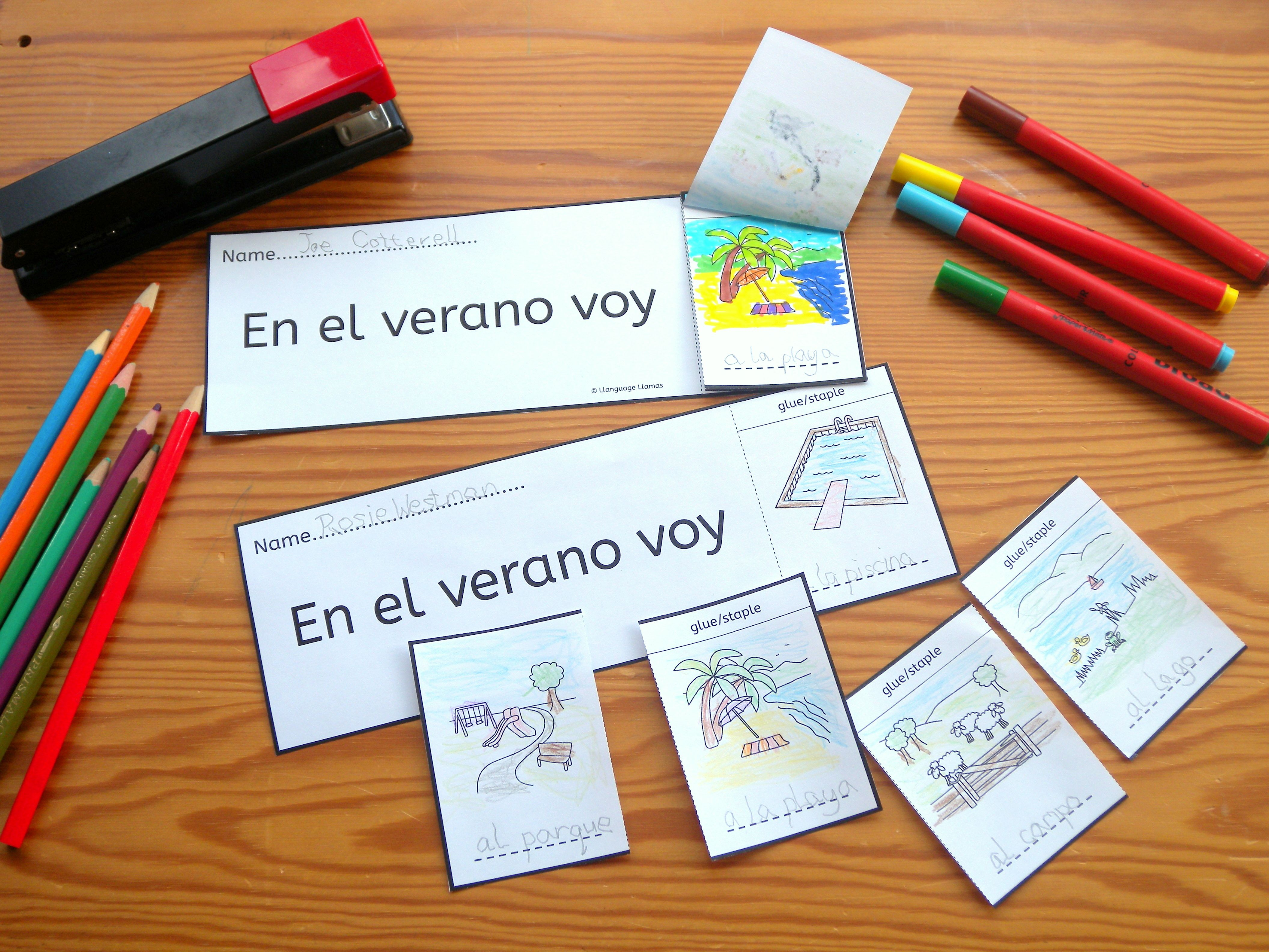 Having Fun With Llanguage Llamas Spanish Summer Flip Books