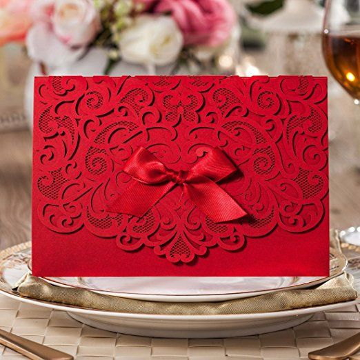 Wishmade 100x elegant red laser cut wedding invitation cards kits wishmade 100x elegant red laser cut wedding invitation cards kits with lace bow paper cardstock for bridal shower engagement birthday baby shower stopboris Image collections