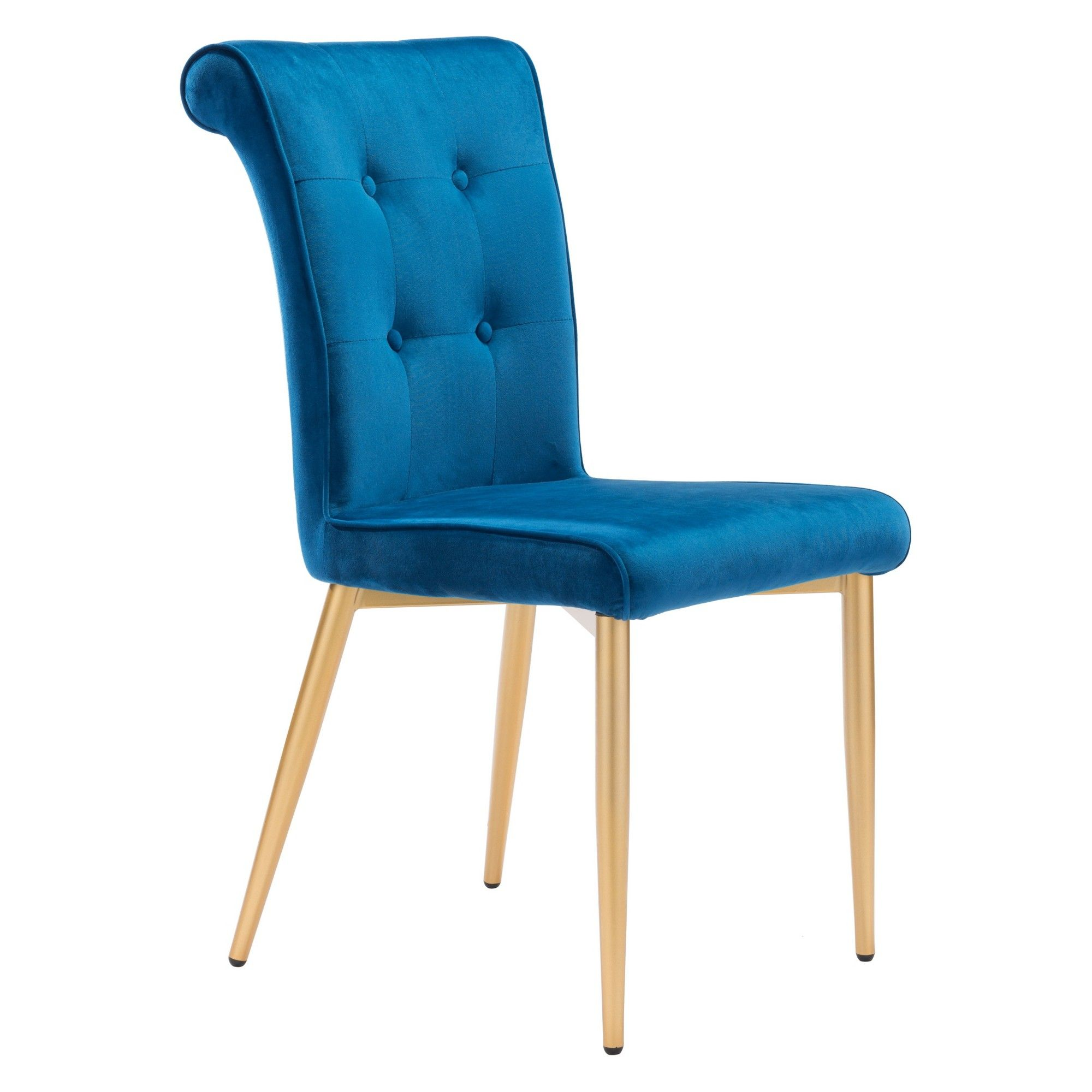 Modern Glam Set Of 2 Velvet Dining Chair Blue Zm Home Products